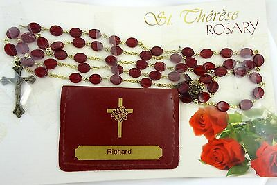 St Therese Rosary Red Beads with Personalized Pouch with Name RICHARD