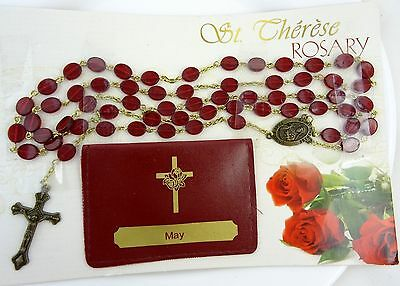 St Therese Rosary Red Beads with Personalized Pouch with Name MAY