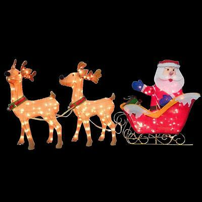 Home Accents 32 In. Tinsel Deer with Santa and Sleigh Christmas Lawn Decor