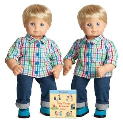 American Girl Bitty Twins light skin, blond hair blue eyes Boys NEW in box pair
