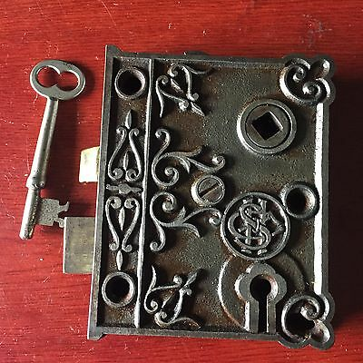 Antique SHC Victorian Eastlake Era Decorative Rim Lock With Skeleton Key #2