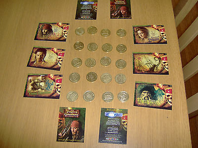20 Gold Coloured Medallionzs -  Coins Pirates Of The Caribbean  Full Set