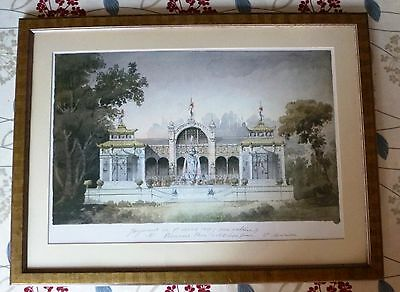 Framed Architectural Print depicting a french aviary