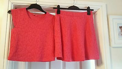Excellent Condition Girls Pink Skirt & Top Outfit Age 12 - 13 Yrs
