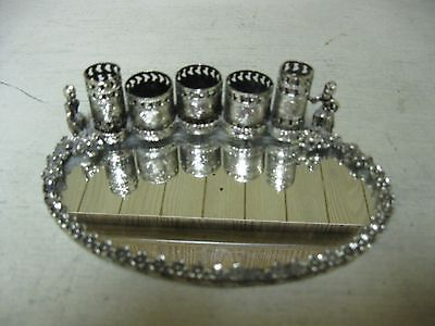 Collectible Ornate  Metal Mirrored Tray Lipstick Holder