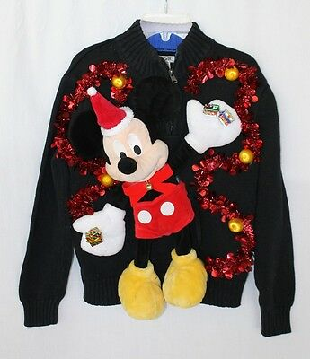 Deb Rottum Ugly  Tacky Christmas Sweater Kids Boys M 8/10 Mickey Mouse