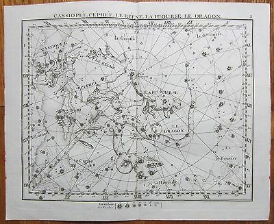 Flamsteed Astronomy Original Celestial Map Dragon Cassiopeia - 1776