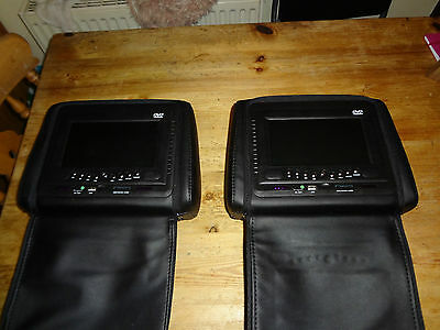 "2X 7"" In Car  Digital Headrest DVD Player Monitor Twin Screens"