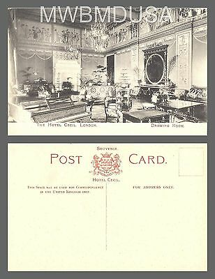 1900s Interior The Drawing Room The Hotel Cecil Piano London UK RPPC Photo