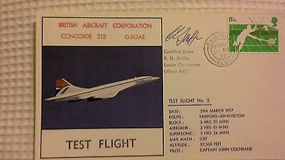 Bac Concorde 212 G-Boae Test Flight Faiford - Filton 1977 Signed