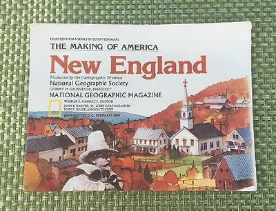 1987 National Geographic NEW ENGLAND Map