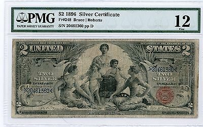 "1896 $2 Silver Certificate Pmg Fine 12 ""educational Note!"""