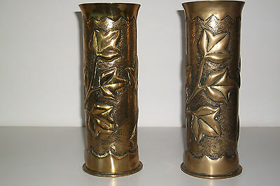 Pair of decorated Trench Art Shell Cases From First World War. Brass, Embossed.