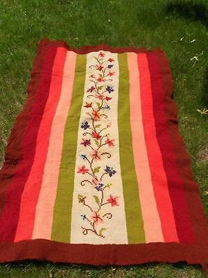 Antique Woven Throw Blanket with Cross-Stitch Florals.