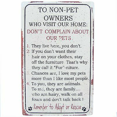 Pet Owner Animal Lover Home Rules for NON Owners Funny Cat Dog Metal Sign Decor