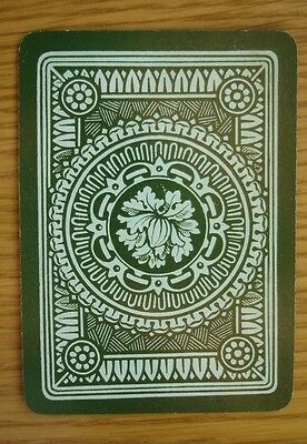 """Antique Goodall """"wide"""" single playing card. Green Pattern c1890s"""