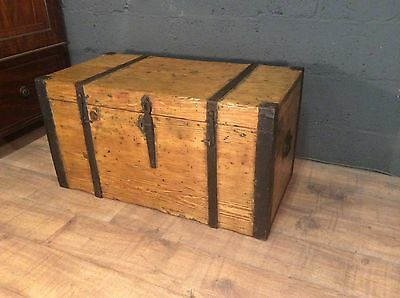 antique vintage shipping trunk chest steamer