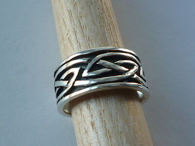 STERLING SILVER RING  CELTIC KNOT AND NIELLO DESIGN  925 size N 1/2  US 7