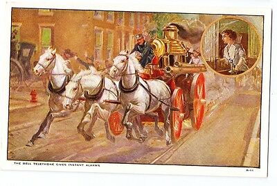 Bell Telephone Advertising Postcard AT&T Instant Alarms Horse Drawn Fire Engine