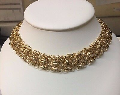 Sterling Silver Gold Toned Fancy Link Necklace
