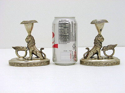 2 Polish Solid Silver Detailed Fig Lion of Judah Candle Chamber Sticks c1850