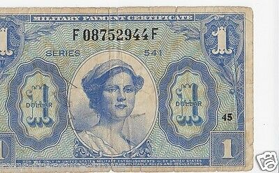 Vintage 1958 Series 541 One Dollar Military Payment Certificate - Army