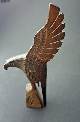 Carved Ironwood Eagle on a Rock. 9 1/2 inches high