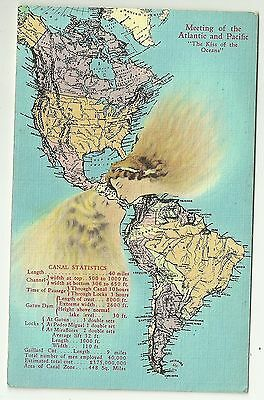 Novelty pullout postcard Map North & South America Pananma Canal  statistics