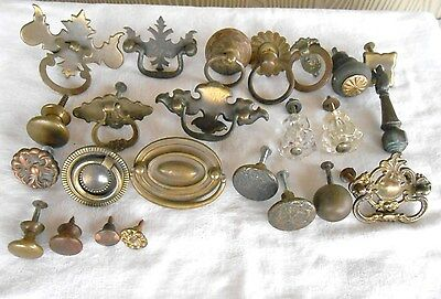 23 old BRASS and METAL SINGLE DRESSER DRAWER PULLS