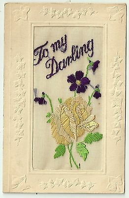 WW1 Military Embroidered Silk postcard To My Darling Flowers by Tuck