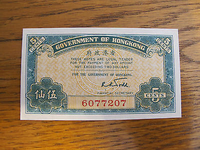 Hong Kong Government ND (1941) 5 Cents Note - Gem uncirculated
