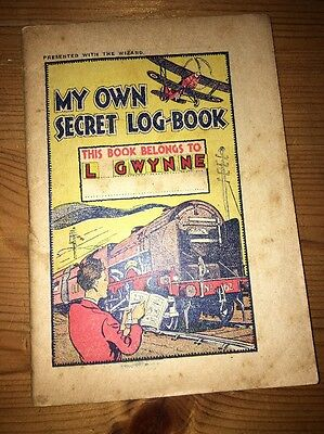 The Wizard comic 'My Own Secret Log Book' Free Gift 9/1/1934 Excellent
