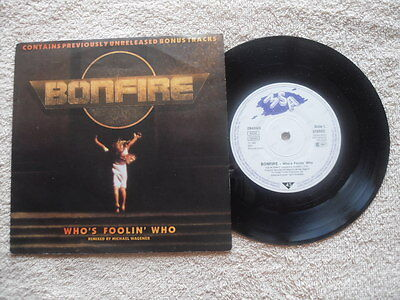 "BONFIRE  WHO'S FOOLING WHO MSA RECORDS 7"" VINYL SINGLE in PICTURE SLEEVE"