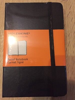 New Moleskin Hard Cover Ruled notebook Pocket 9x14cm