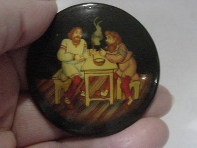 Victorian Hand Painted Huge Cameo Pin 2 Men Eating
