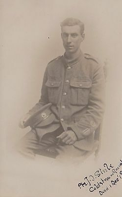 WW1 Named Soldier Pte J C Steele Coldstream Guards RP Postcard. c1916