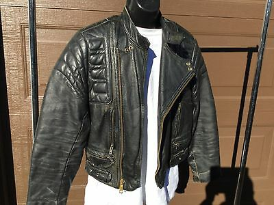 Vintage Mens * Racing * Black Leather * Motorcycle Riding Jacket * size 36