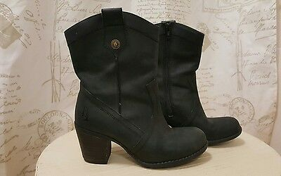 Fabulous Ladies Hush Puppies Black Leather Ankle Boot Size 5 (38)
