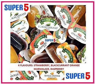 96 Duerrs Assorted Jam Pots 20G - 4 Flavours- Home,business,hotels,camping