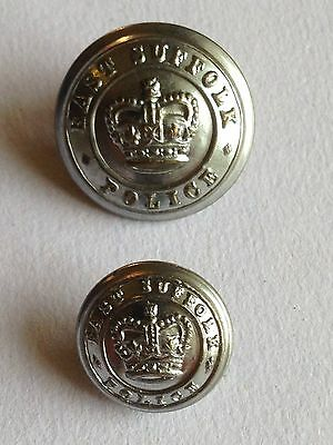 Two Original East Suffolk Police (post 1953) White Metal Buttons