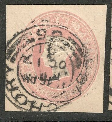 Queen Victoria - 1d Pink - Embossed Postal Stationery - Great Cancel.