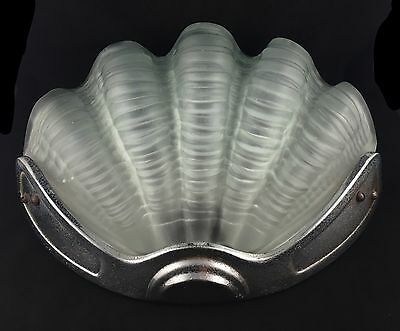Vintage Art Deco Frosted Glass Shell Wall Sconce Vintage Light Shade & Fitting