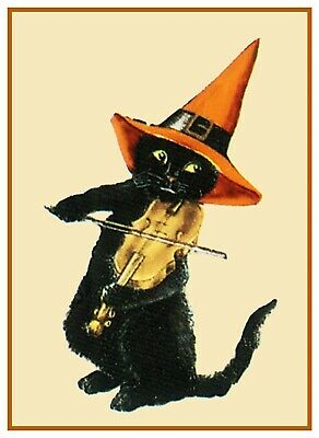 Halloween Scene # 460 Black Cat With A Fiddle Counted Cross Stitch Pattern