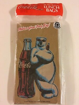 Coca Cola COKE 20 Paper Lunch Bags Sacks USA 1998 STILL SEALED!
