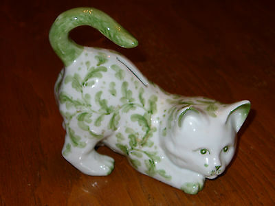 Green and White Cat Ceramic Bank