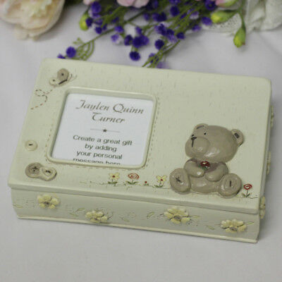 Baby Teddy Keepsake Memory Box with Message - Add a Name & Message