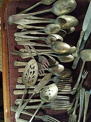 Assort. Lot antique silver plated knifes forks spoons and serving ware. 40 pc