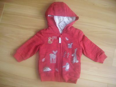 girls next red/christmas warm zip up hooded jacket top 9-12 nwt