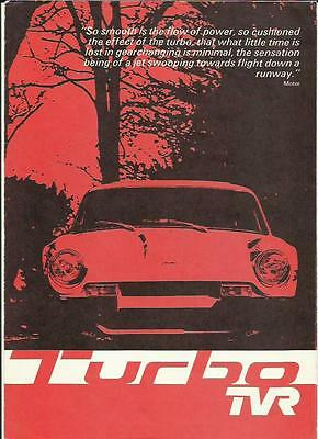 Tvr Turbo Car Sales Brochure October 1976 For 1977 Model Year
