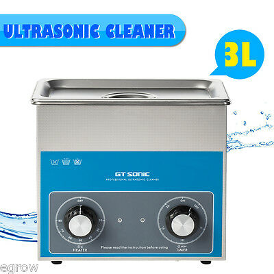 New Stainless Steel 3L Liter Ultrasonic Cleaner Industry Heated W/ Timer Heater
